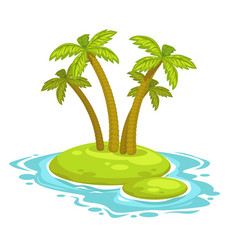 cartoon island with palms vector image