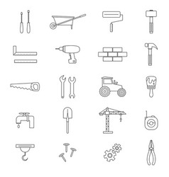 construction black thin line icon set vector image