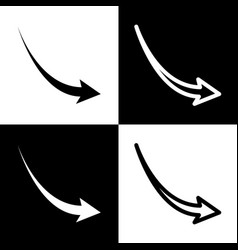 declining arrow sign black and white vector image
