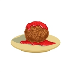 Gian meatball with tomato salsa traditional vector