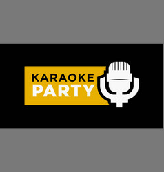 karaoke party promotional emblem with microphone vector image vector image
