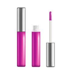 realistic detailed pink lip gloss set open and vector image vector image