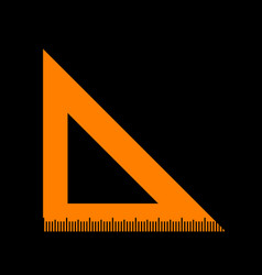 ruler sign orange icon on black vector image vector image