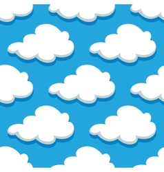 Seamless cartoon cloudscape pattern on cyan vector image vector image