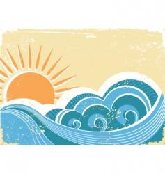 vintage waves vector image vector image