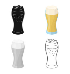 a glass of wheat beer with foamalcoholic beverage vector image vector image