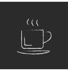 Cup of hot drink icon drawn in chalk vector image