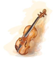 violin vatercolor style vector image