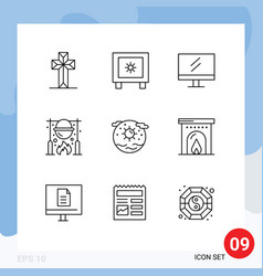 9 user interface outline pack modern signs and vector