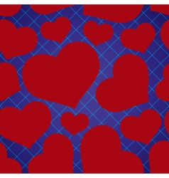 Abstract checkered blue seamless pattern with red vector