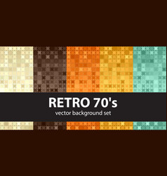 Abstract pattern set retro 70s seamless vector