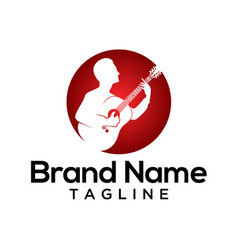 Acoustic guitarist logo template vector