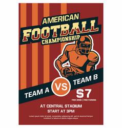 american football championship brochure poster vector image