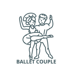 ballet couple dancing man and woman line icon vector image