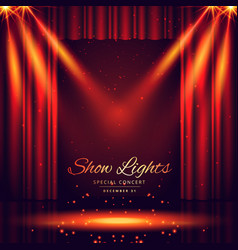 Beautiful theater stage with lights focus vector