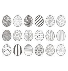 black lineart hand drawn easter eggs decorative vector image
