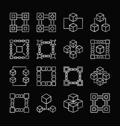 Block chain silver icons set blockchain vector