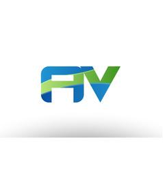 Blue green av a v alphabet letter logo vector