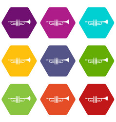 brass trumpet icon set color hexahedron vector image