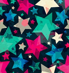 bright star seamless pattern with grunge effect vector image