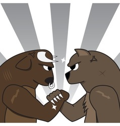 Bull bear preparing to fight vector