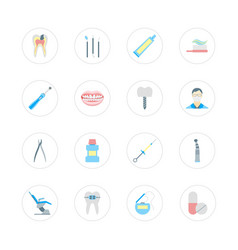 cartoon dental health care color set vector image