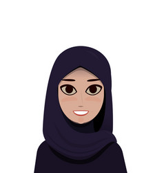 cartoon portrait of muslim beautiful woman in vector image