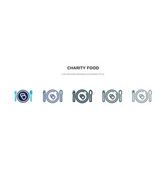 charity food icon in different style two colored vector image