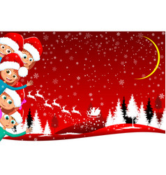 children happily greet christmas vector image