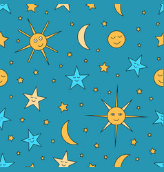 Children seamless pattern of night sky with sun vector