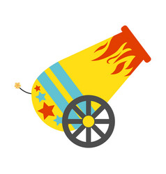 Circus cannon flat icon vector