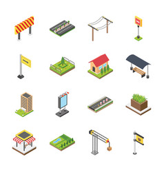 Citylife isometric icons vector