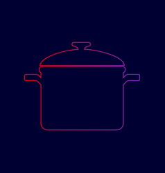 cooking pan sign line icon with gradient vector image