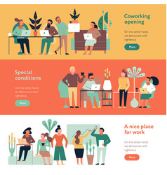 Coworking people banners set vector