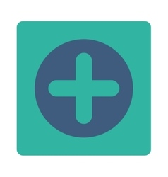 Create flat cobalt and cyan colors rounded button vector