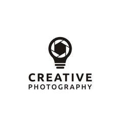 Creative photography and bulb logo design vector