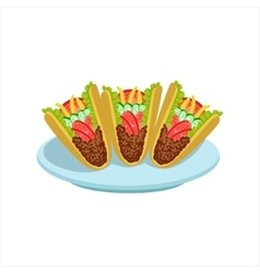 Crispy Taco Traditional Mexican Cuisine Dish Food vector