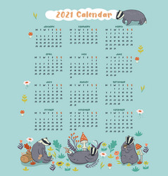 Cute 2021 calendar with badgers graphics vector