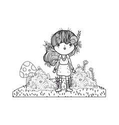 Cute little fairy with elf ears character vector