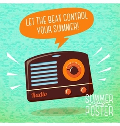Cute summer poster - radio playing cool music vector