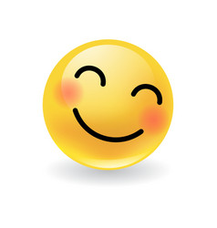 cute yellow round emoticon smiling and blushing vector image