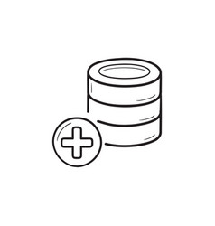 database with plus hand drawn outline doodle icon vector image