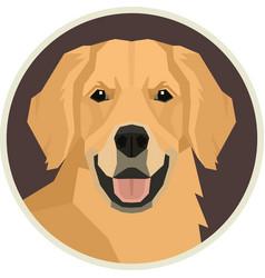 Dog collection golden retriever round frame vector