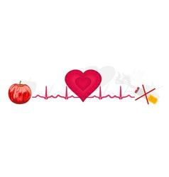 Education Ekg heart apple ok cigarette no vector