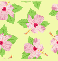Elegant seamless pattern with decorative hibiscus vector