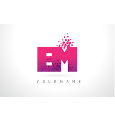 Em e m letter logo with pink purple color and vector