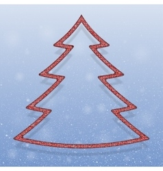 Falling snow Red Sequins Christmas tree vector