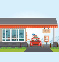 family getting food at a drive thru restaurant vector image