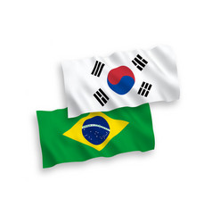 Flags south korea and brazil on a white vector