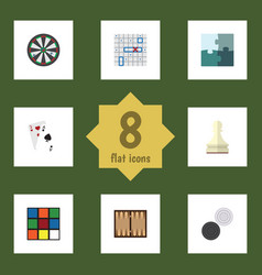 flat icon play set of cube sea fight chequer and vector image